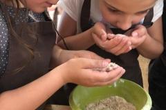 Nela i Karina sprawdzają zapach mąki.